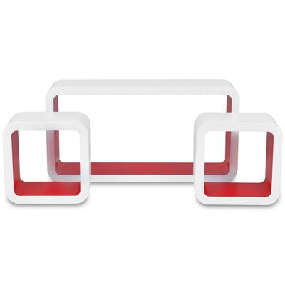 3 White-Red MDF Floating Wall Display Shelf Cubes Book/DVD Storage