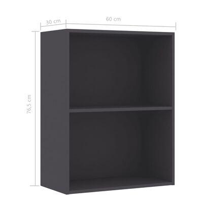 "vidaXL 2-Tier Book Cabinet Gray 23.6""x11.8""x30.1"" Chipboard"