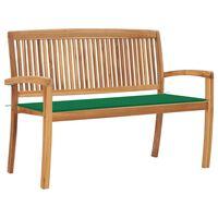 "vidaXL Stacking Garden Bench with Cushion 50.6"" Solid Teak Wood"