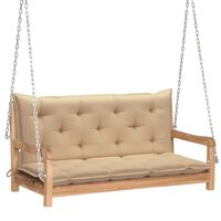 "vidaXL Swing Bench with Beige Cushion 47.2"" Solid Teak Wood"