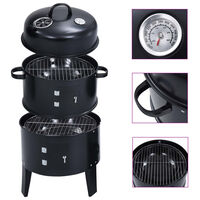 """vidaXL 3-in-1 Charcoal Smoker BBQ Grill 15.7""""x31.4"""""""