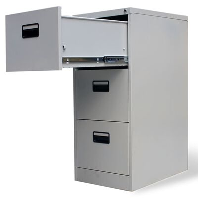 """vidaXL File Cabinet with 3 Drawers Gray 40.4"""" Steel"""