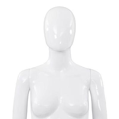 "vidaXL Full Body Female Mannequin with Glass Base Glossy White 68.9"""