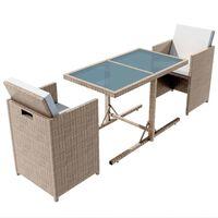 vidaXL 3 Piece Bistro Set with Cushions Poly Rattan Beige