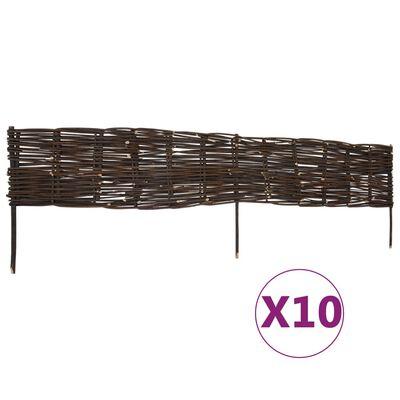 "vidaXL Garden Willow Border Fences 10 pcs 47.2"" x 13.8"""