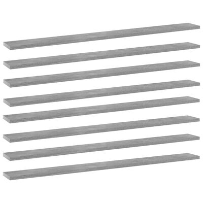 "vidaXL Bookshelf Boards 8 pcs Concrete Gray 39.4""x3.9""x0.6"" Chipboard"