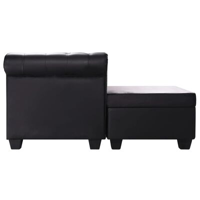 vidaXL L-shaped Chesterfield Sofa Artificial Leather Black