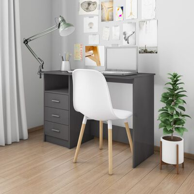 "vidaXL Desk with Drawers High Gloss Gray 43.3""x19.7""x29.9"" Chipboard"