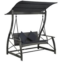 vidaXL 3-seater Garden Swing Bench with Canopy Poly Rattan Gray