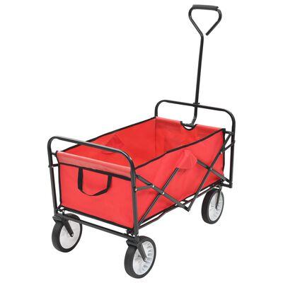 vidaXL Folding Hand Trolley Steel Red