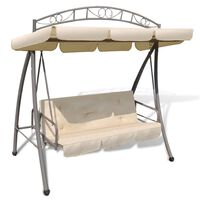 vidaXL Outdoor Convertible Swing Bench with Canopy Sand White