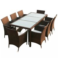vidaXL 9 Piece Outdoor Dining Set with Cushions Poly Rattan Brown