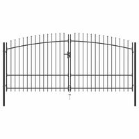 """vidaXL Double Door Fence Gate with Spear Top 157.5""""x88.6"""""""