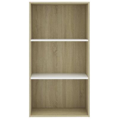 """vidaXL 3-Tier Book Cabinet White and Sonoma Oak 23.6""""x11.8""""x44.9"""" Chipboard"""