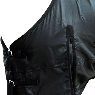 "vidaXL Fleece Rug Double Layers with Surcingles 49.2"" Black"