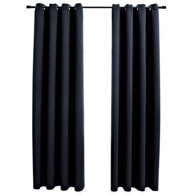 "vidaXL Blackout Curtains with Rings 2 pcs Black 54""x95"" Fabric"
