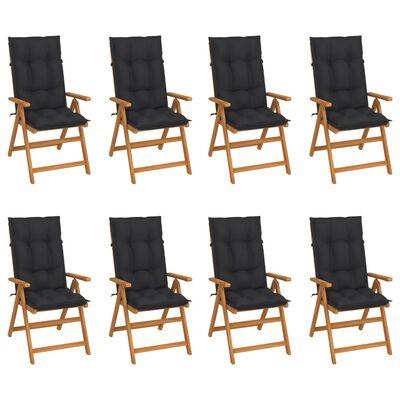 vidaXL Reclining Garden Chairs with Cushions 8 pcs Solid Teak Wood