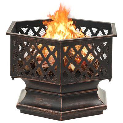 """vidaXL Rustic Fire Pit with Poker 24.4x21.3""""x22"""" XXL Steel"""""""