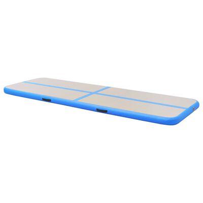 "vidaXL Inflatable Gymnastics Mat with Pump 157.4""x39.3""x3.9"" PVC Blue"