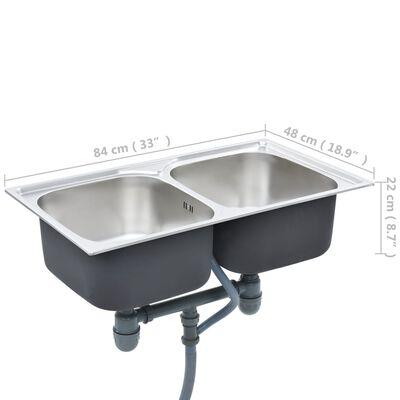 vidaXL Kitchen Sink Double Basin with Strainer & Trap Stainless Steel