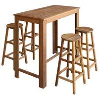 vidaXL Bar Table and Stool Set 5 Pieces Solid Acacia Wood