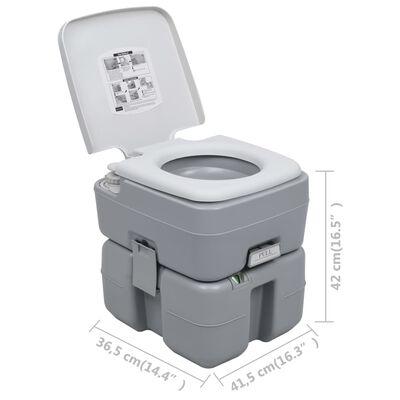 vidaXL Portable Camping Toilet Gray 5.3+2.6 gal