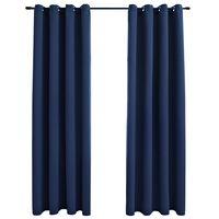 "vidaXL Blackout Curtains with Rings 2 pcs Navy Blue 54""x95"" Fabric"