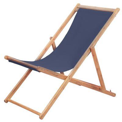 vidaXL Folding Beach Chair Fabric and Wooden Frame Blue