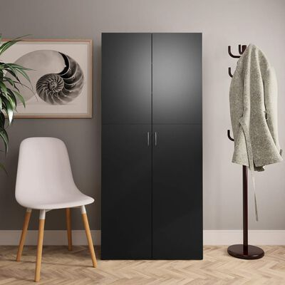 "vidaXL Shoe Cabinet Black 31.5""x14""x70.9"" Chipboard"