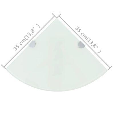 """vidaXL Corner Shelves 2 pcs with Chrome Supports Glass White 13.8""""x13.8"""""""
