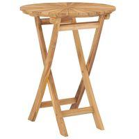 "vidaXL Folding Garden Table Ø 23.6"" Solid Teak Wood"