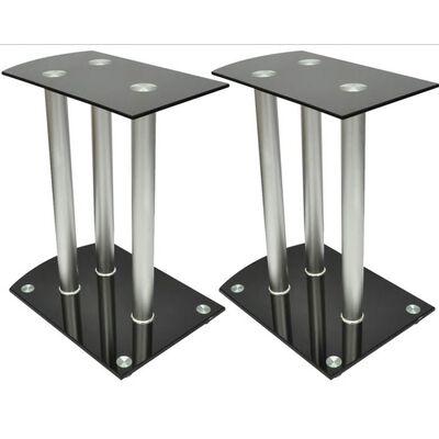 Aluminum Speaker Stands 2 pcs Black Glass
