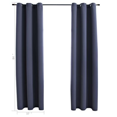 """vidaXL Blackout Curtains with Rings 2 pcs Anthracite 37""""x84"""" Fabric"""