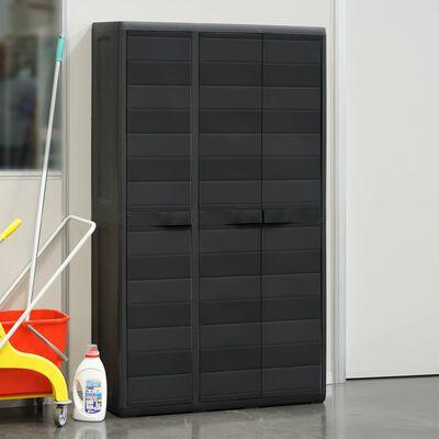 vidaXL Garden Storage Cabinet with 4 Shelves Black