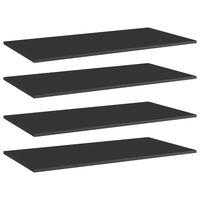 "vidaXL Bookshelf Boards 4 pcs High Gloss Black 31.5""x11.8""x0.6"" Chipboard"