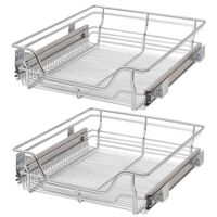 """vidaXL Pull-Out Wire Baskets 2 pcs Silver 19.7"""""""