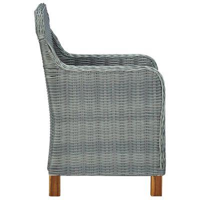 vidaXL 7 Piece Outdoor Dining Set with Cushions Poly Rattan Light Gray