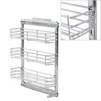 "vidaXL 3-Tier Pull-out Kitchen Wire Basket Silver 18.5""x5.9""x22"""