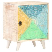 "vidaXL Carved Bedside Cabinet 15.7""x11.8""x19.7"" Solid Acacia Wood"
