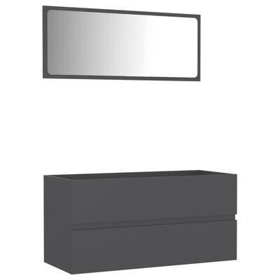 vidaXL 2 Piece Bathroom Furniture Set Gray Chipboard