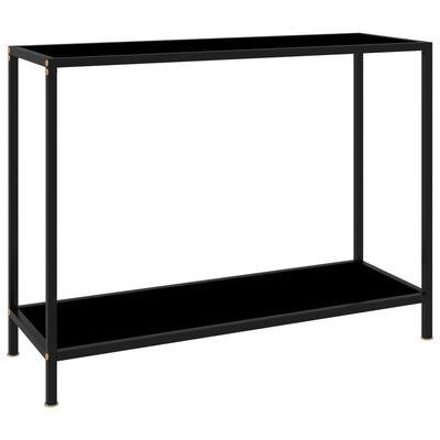 "vidaXL Console Table Black 39.4""x13.8""x29.5"" Tempered Glass"