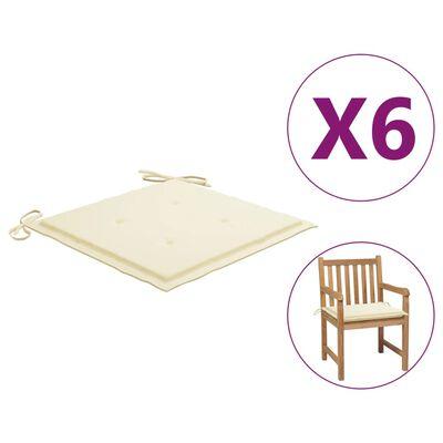 "vidaXL Garden Chair Cushions 6 pcs Cream 19.7""x19.7""x1.6"" Fabric"
