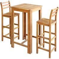 vidaXL Bar Table and Chair Set 3 Pieces Solid Acacia Wood