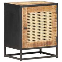 "vidaXL Bedside Cabinet 15.7""x11.8""x19.7"" Rough Mango Wood and Natural Cane"
