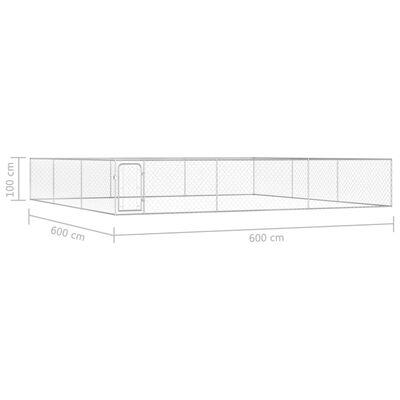 """vidaXL Outdoor Dog Kennel Galvanised Steel 236.2""""x236.2""""x39.4"""""""