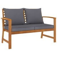 "vidaXL Garden Bench 47.2"" with Dark Gray Cushion Solid Acacia Wood"