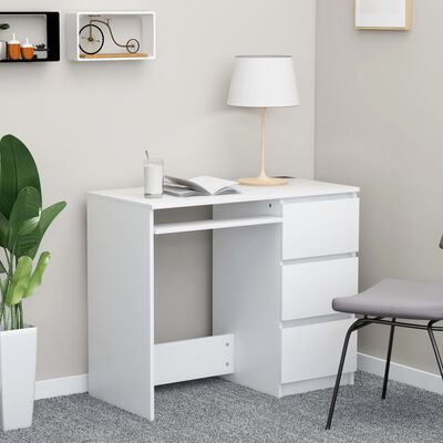 "vidaXL Desk White 35.4""x17.7""x29.9"" Chipboard"