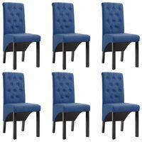vidaXL Dining Chairs 6 pcs Blue Fabric