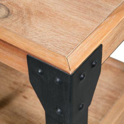 "vidaXL Bed Frame with 2 Nightstands Solid Acacia Wood Steel 76""x79.9"""