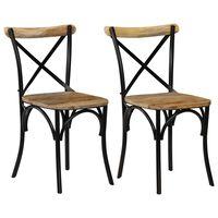 vidaXL Cross Chairs 2 pcs Black Solid Mango Wood